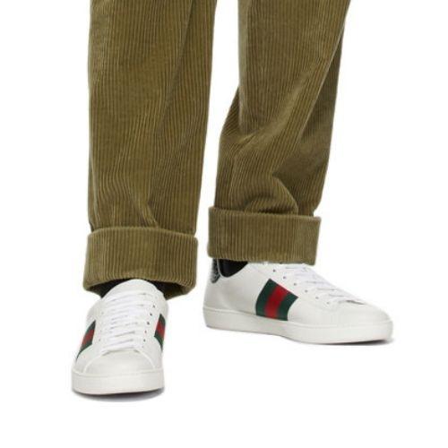 SSENSE GUCCI White & Green Ace Sneakers