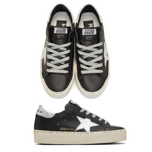 SSENSE Golden Goose Black & Silver Hi Star Sneakers